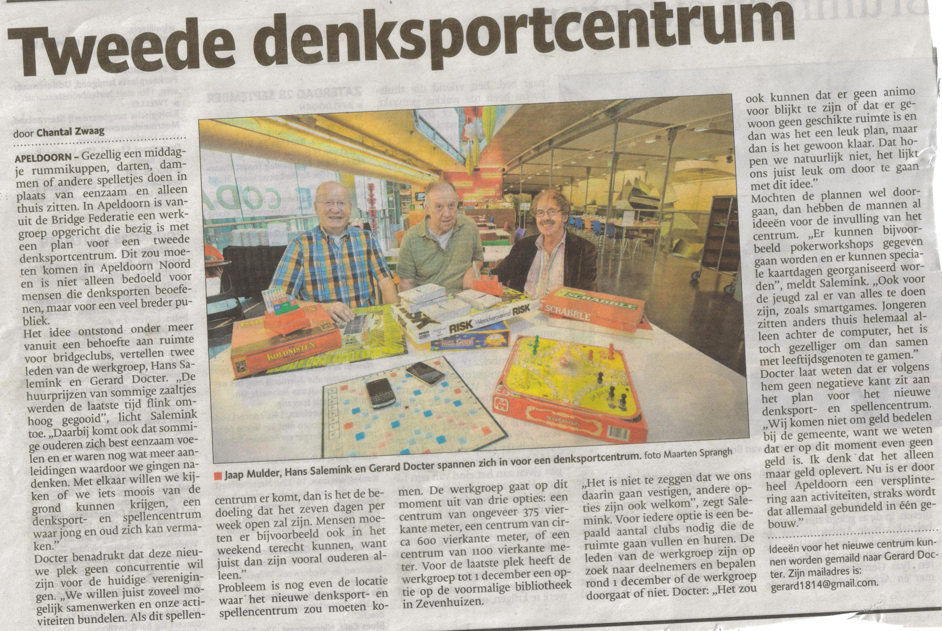 Bron: De Stentor Apeldoorn 28 september 2013