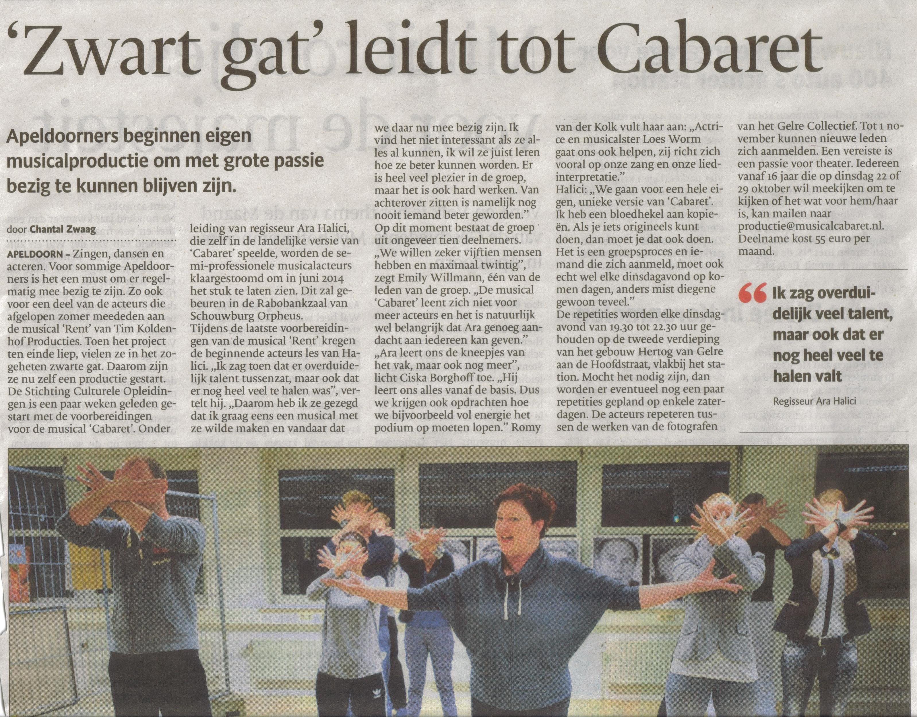 12- cabaret- dinsdag 15 oktober heen- bijzondere productie- publicatiedatum 22 oktober 2013