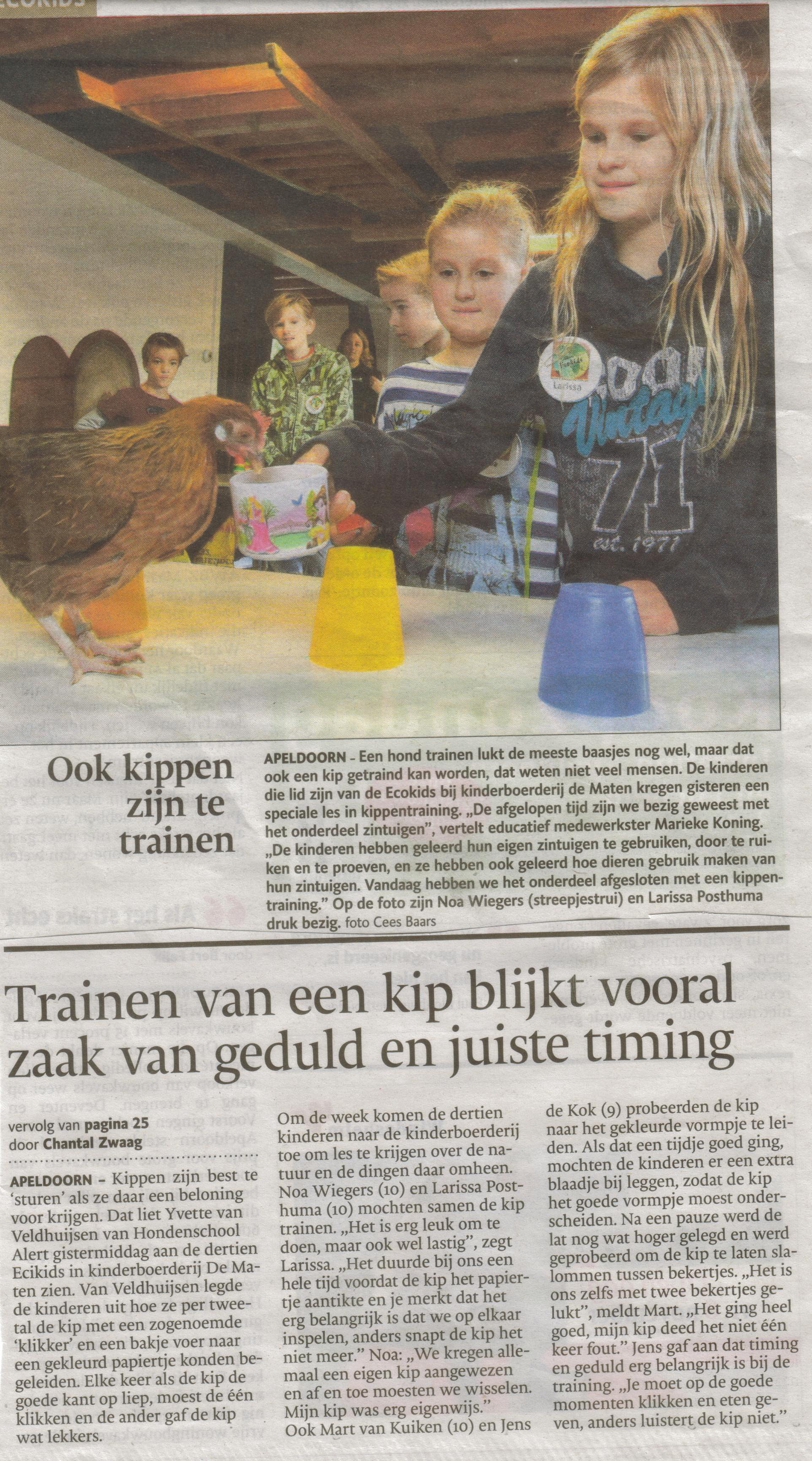 20- kippentraining met ecokids- publicatiedatum 31 oktober 2013
