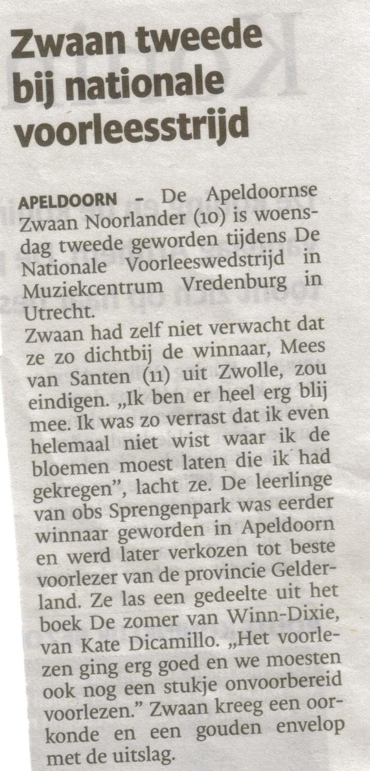 21- zwaan noorlander 2de geworden-publicatiedatum 30 mei 2013