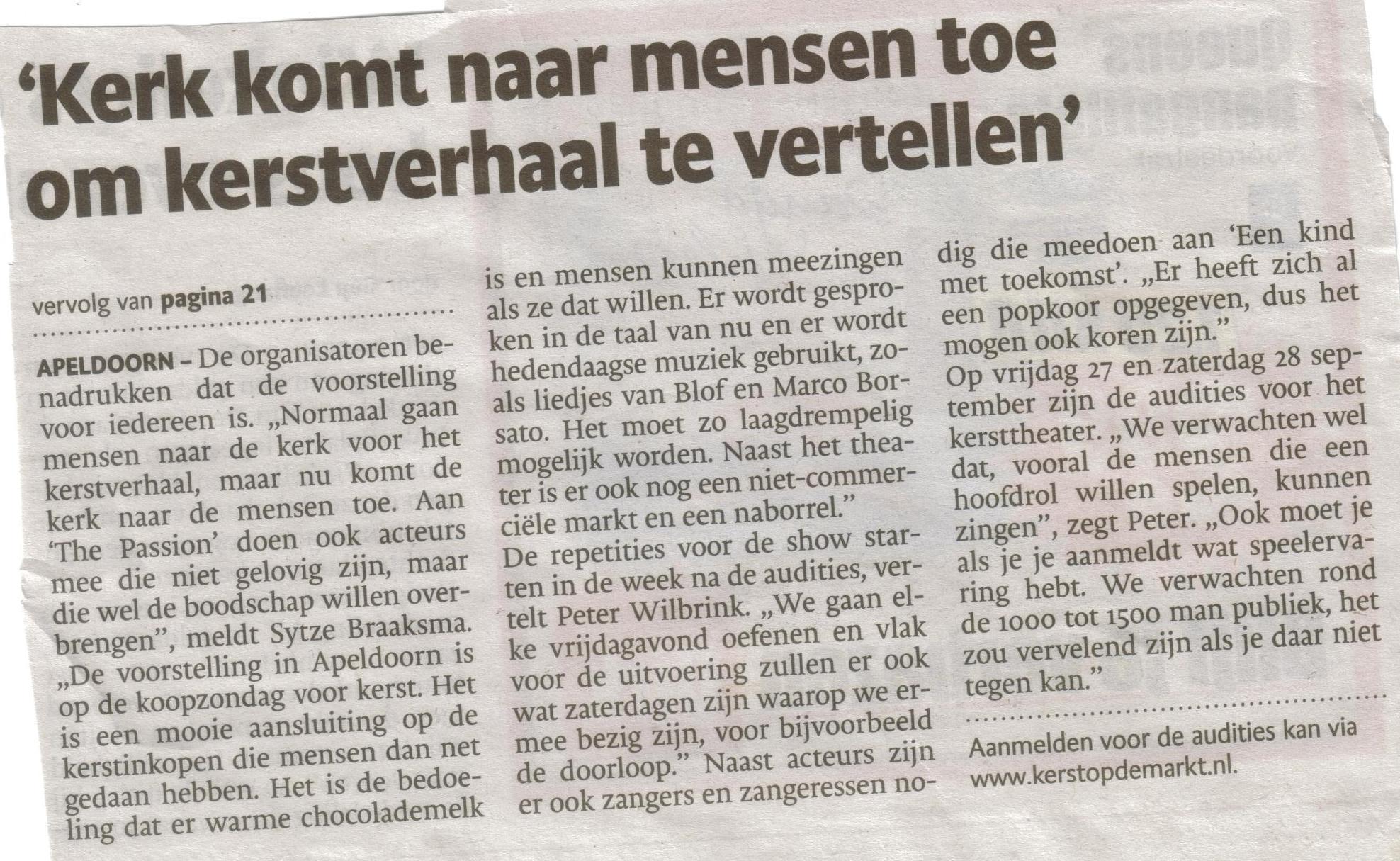 Bron: De Stentor Apeldoorn 11 september 2013