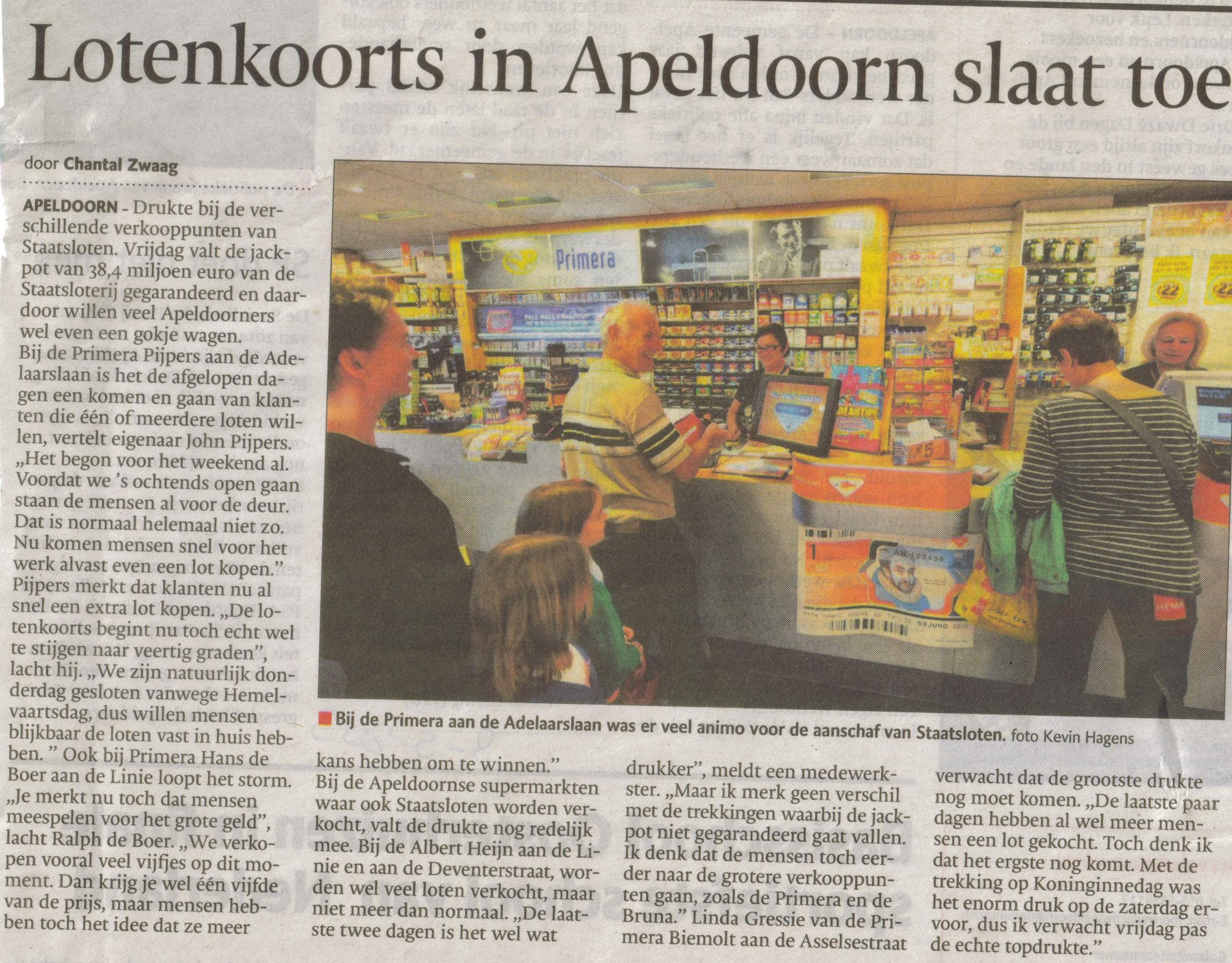 5- lotenkoorts in Apeldoorn slaat toe-publicatiedatum 8 mei 2013
