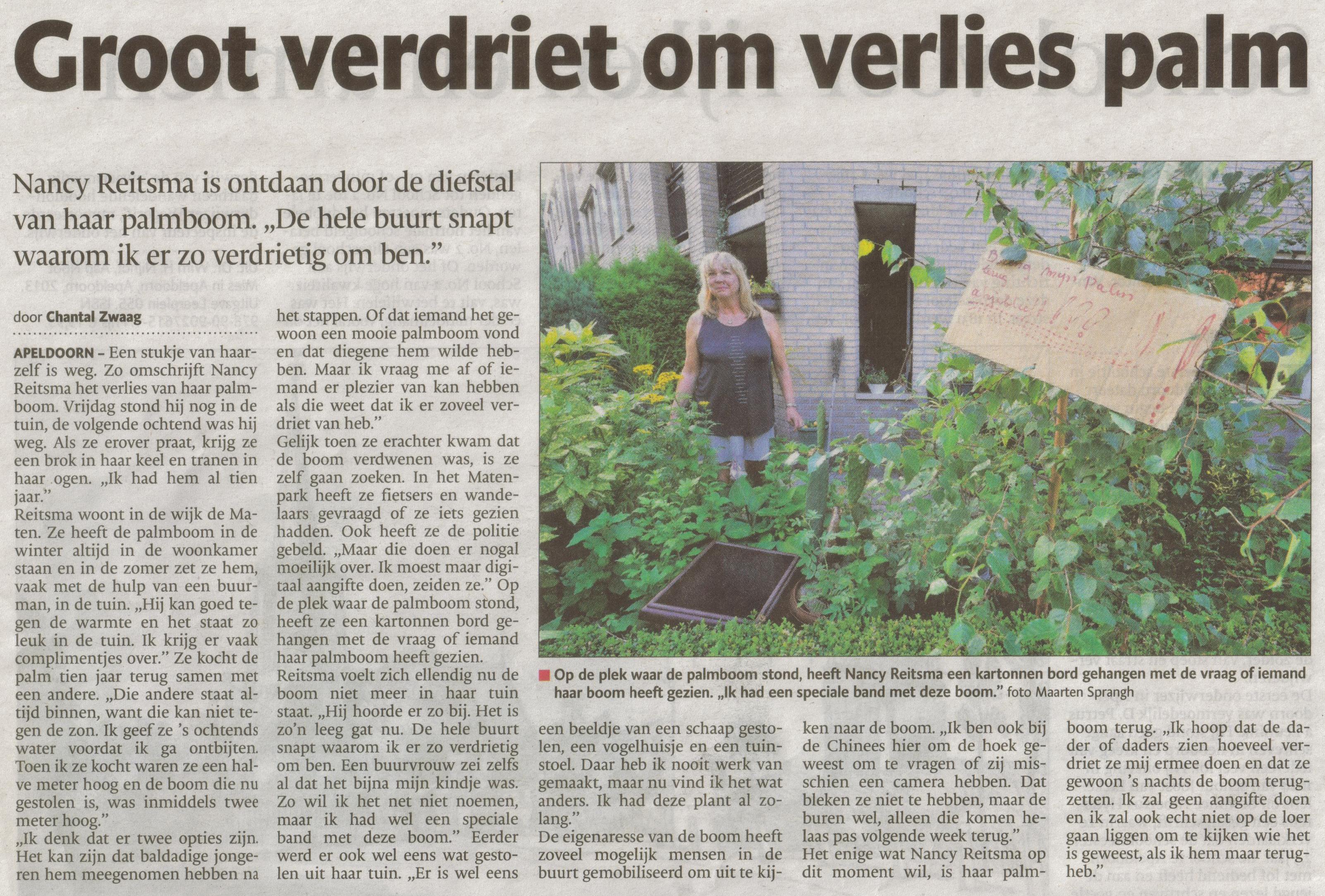 Bron: De Stentor Apeldoorn 8 augustus 2013