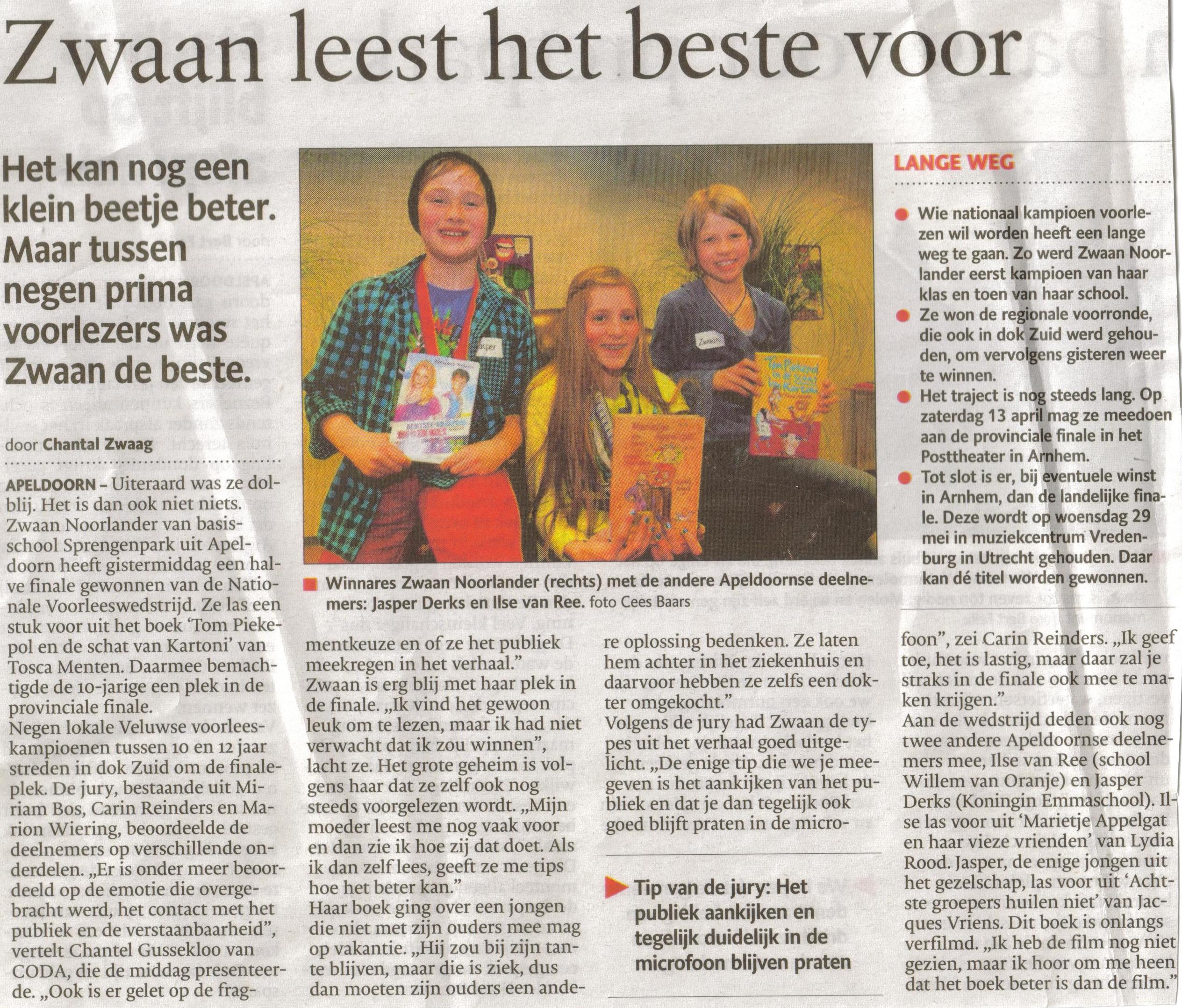 7- zwaan noorlander wint regionale voorleeswedstrijd- voor apeldoorn- 21 maart 2013