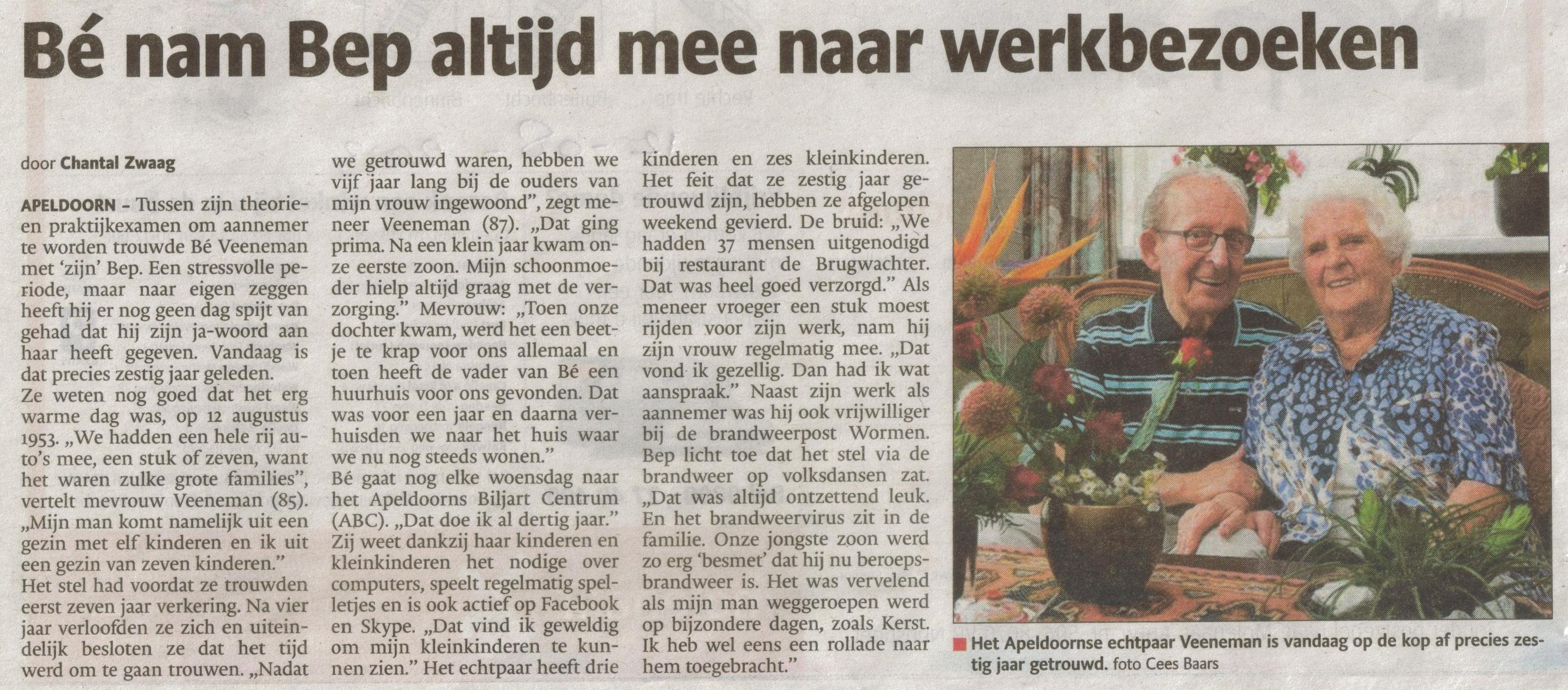Bron: De Stentor Apeldoorn 12 augustus 2013