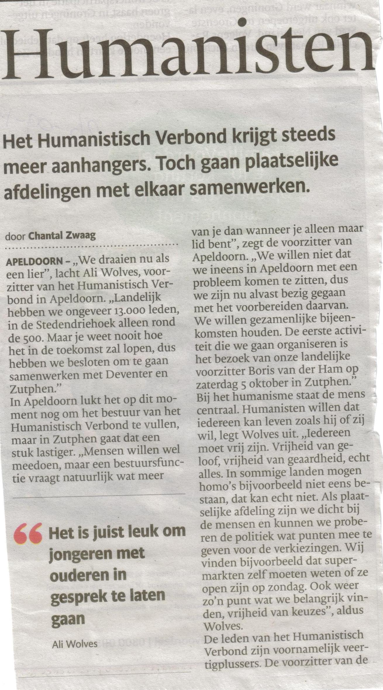 Bron: De Stentor Apeldoorn 26 september 2013